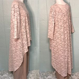 Tan 2-Piece Evening Dress with Lace Overlay, XL